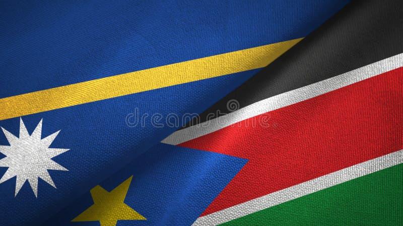 Torkduk för Nauru och söderSudan två flaggatextil, tygtextur royaltyfria foton
