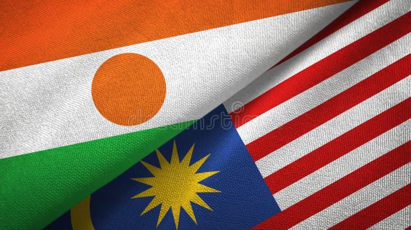 Torkduk för Niger och Malaysia två flaggatextil, tygtextur vektor illustrationer