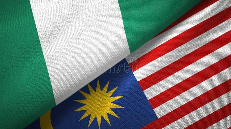 Torkduk för Nigeria och Malaysia två flaggatextil, tygtextur royaltyfri illustrationer