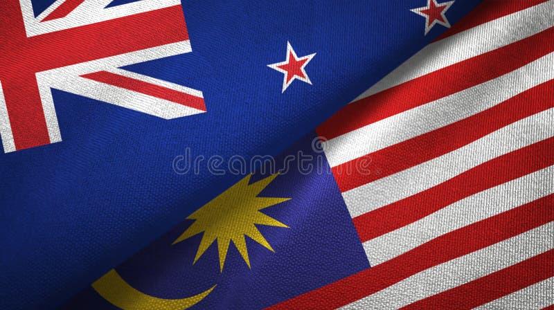 Torkduk för Nya Zeeland och Malaysia två flaggatextil, tygtextur royaltyfri illustrationer