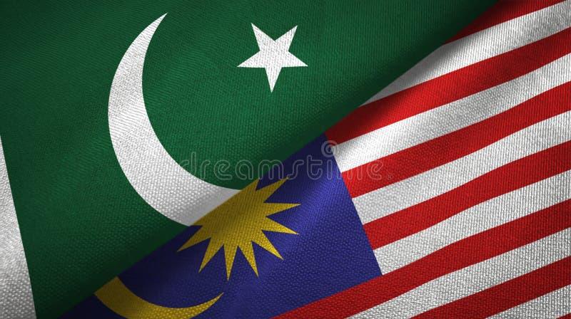 Torkduk för Pakistan och Malaysia två flaggatextil, tygtextur vektor illustrationer