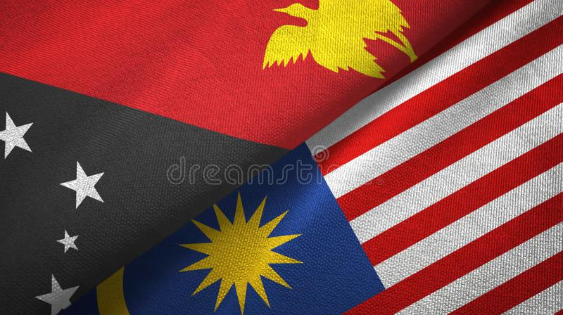 Torkduk f?r Papua Nya Guinea och Malaysia tv? flaggatextil, tygtextur stock illustrationer