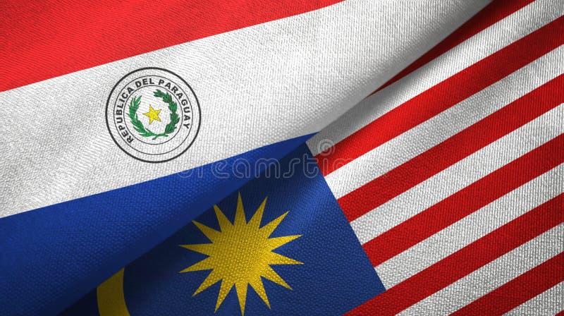 Torkduk f?r Paraguay och Malaysia tv? flaggatextil, tygtextur royaltyfri illustrationer