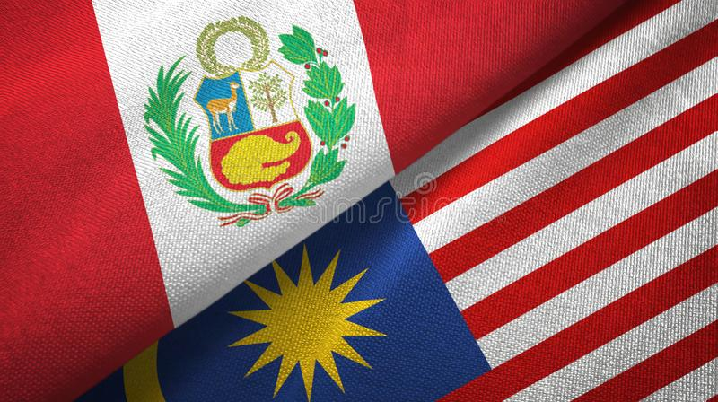 Torkduk för Peru och Malaysia två flaggatextil, tygtextur royaltyfri illustrationer
