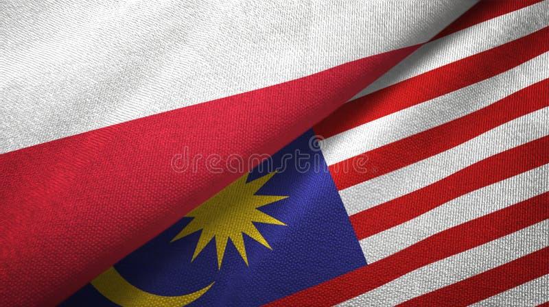 Torkduk för Polen och Malaysia två flaggatextil, tygtextur vektor illustrationer
