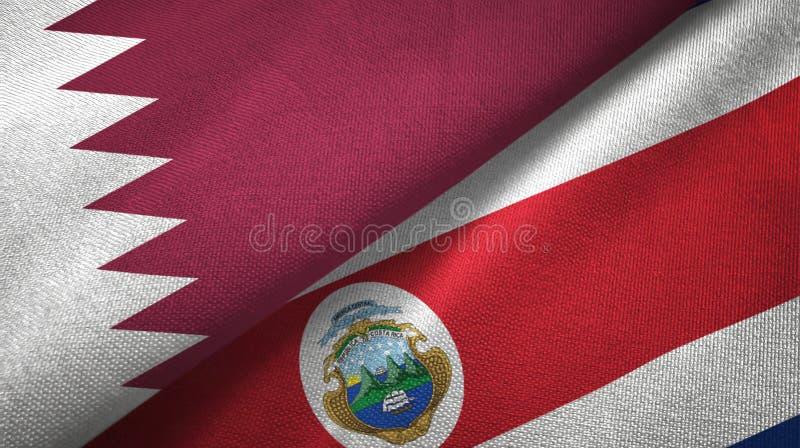 Torkduk för Qatar och Costa Rica två flaggatextil, tygtextur stock illustrationer