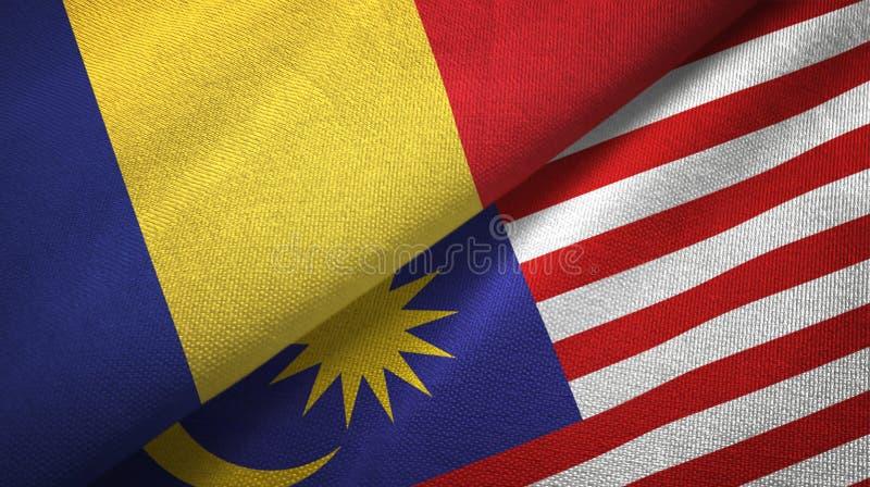 Torkduk för Rumänien och Malaysia två flaggatextil, tygtextur stock illustrationer