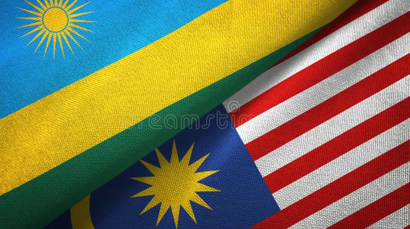 Torkduk för Rwanda och Malaysia två flaggatextil, tygtextur vektor illustrationer