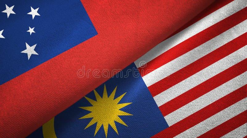 Torkduk för Samoa och Malaysia två flaggatextil, tygtextur royaltyfri illustrationer