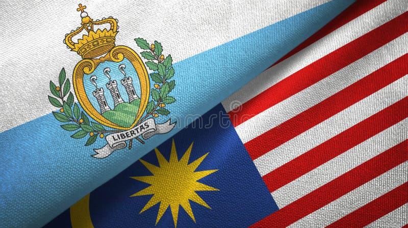 Torkduk för San Marino och Malaysia två flaggatextil, tygtextur vektor illustrationer