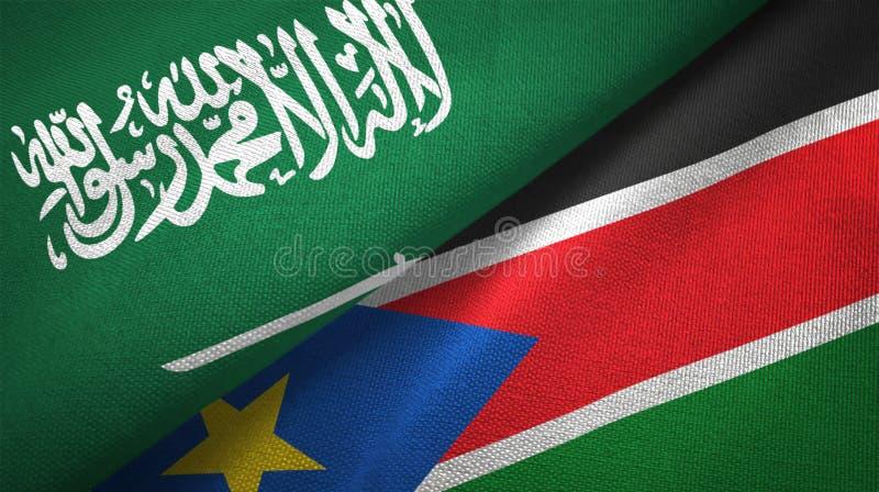 Torkduk för Saudiarabien och söderSudan två flaggatextil, tygtextur vektor illustrationer
