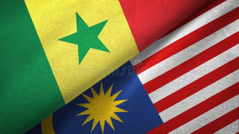 Torkduk för Senegal och Malaysia två flaggatextil, tygtextur vektor illustrationer
