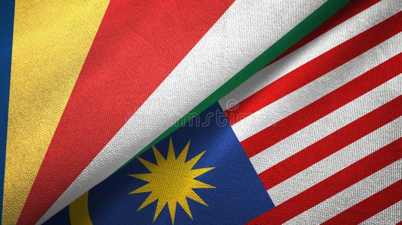 Torkduk f?r Seychellerna och Malaysia tv? flaggatextil, tygtextur vektor illustrationer