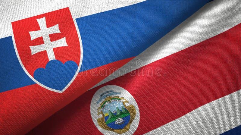 Torkduk för Slovakien och Costa Rica två flaggatextil, tygtextur vektor illustrationer