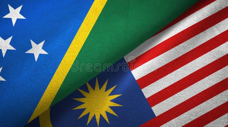 Torkduk för Solomon Island och Malaysia två flaggatextil, tygtextur royaltyfri illustrationer