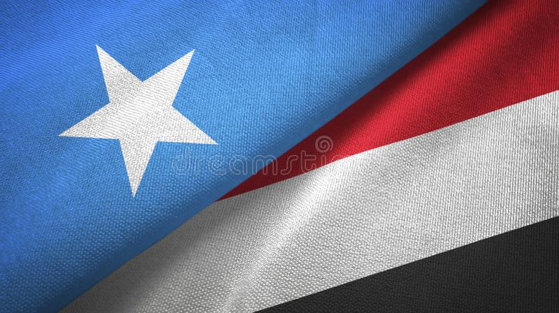 Torkduk för Somalia och Yemen två flaggatextil, tygtextur royaltyfri foto