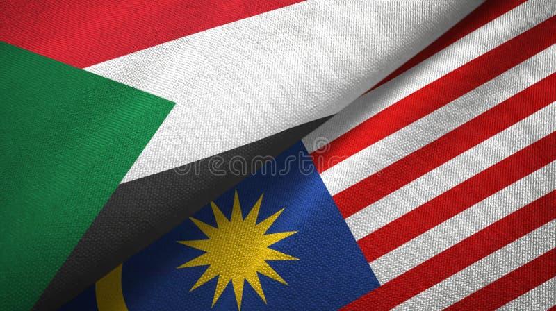Torkduk för Sudan och Malaysia två flaggatextil, tygtextur stock illustrationer