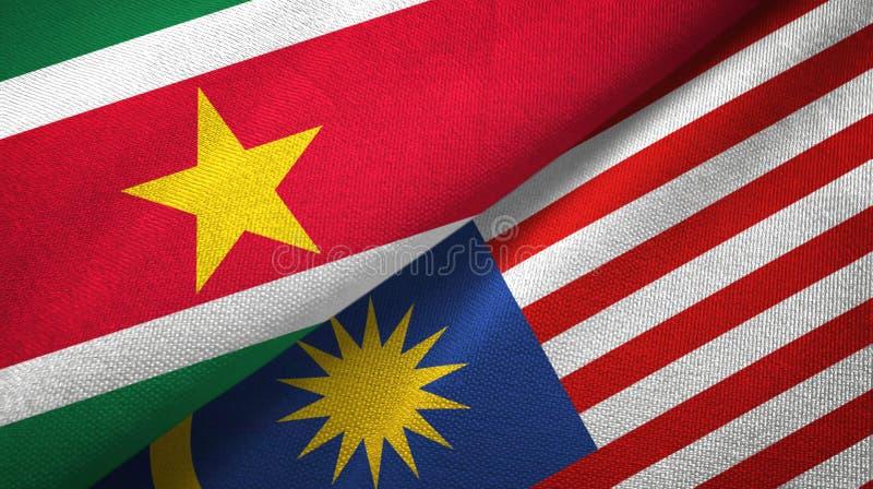 Torkduk för Surinam och Malaysia två flaggatextil, tygtextur vektor illustrationer