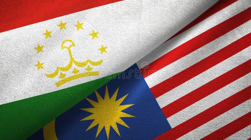 Torkduk för Tadzjikistan och Malaysia två flaggatextil, tygtextur stock illustrationer