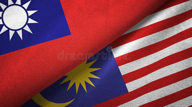 Torkduk för Taiwan och Malaysia två flaggatextil, tygtextur stock illustrationer