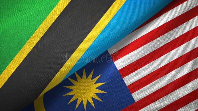 Torkduk för Tanzania och Malaysia två flaggatextil, tygtextur royaltyfri illustrationer