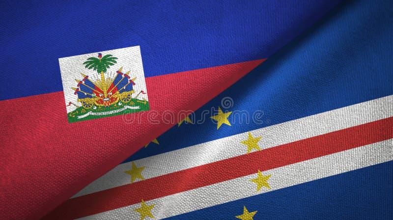 Torkduk f?r textil f?r Haiti och uddeCabo Verde tv? flaggor, tygtextur royaltyfri bild