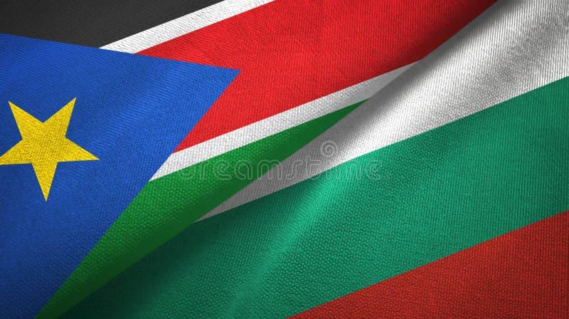 Torkduk för textil för södra Sudan och för Bulgarien två flaggor, tygtextur arkivbild