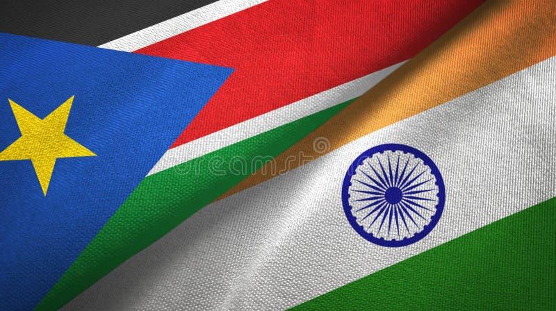 Torkduk för textil för södra Sudan och Indien två flaggor, tygtextur royaltyfri fotografi