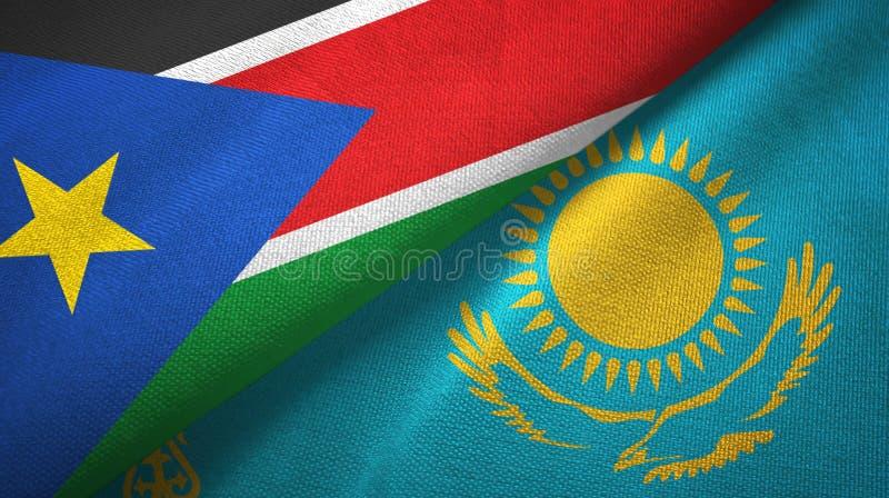Torkduk för textil för södra Sudan och Kasakhstan två flaggor, tygtextur royaltyfri foto