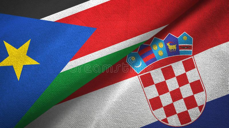 Torkduk för textil för södra Sudan och för Kroatien två flaggor, tygtextur arkivfoton