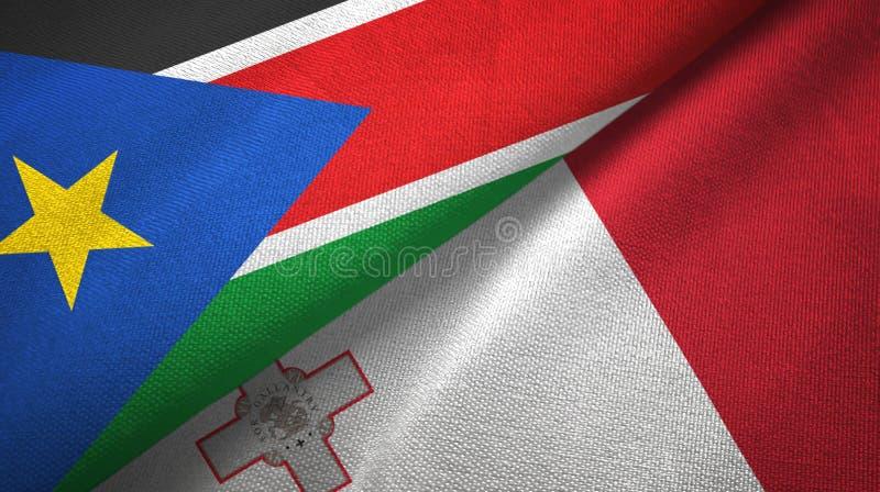 Torkduk för textil för södra Sudan och Malta två flaggor, tygtextur royaltyfria bilder