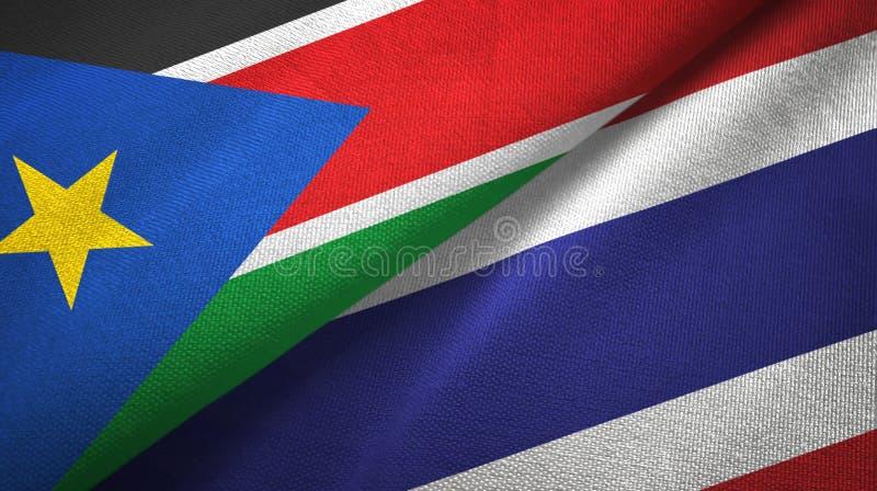 Torkduk för textil för södra Sudan och Thailand två flaggor, tygtextur arkivfoto
