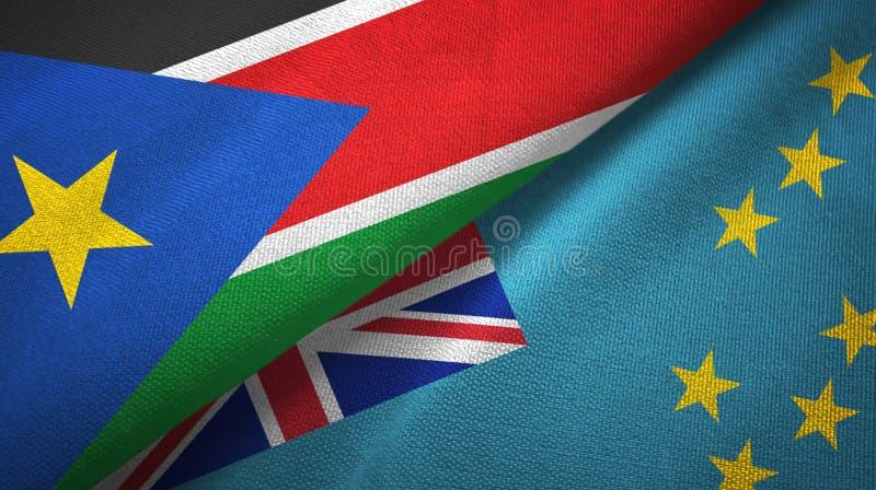 Torkduk f?r textil f?r s?dra Sudan och Tuvalu tv? flaggor, tygtextur arkivbild