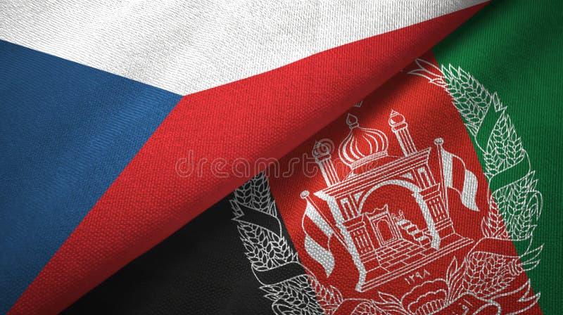 Torkduk för Tjeckien- och Afghanistan två flaggatextil, tygtextur royaltyfri illustrationer