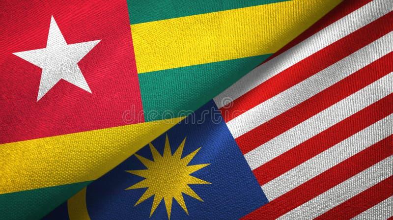 Torkduk för Togo och Malaysia två flaggatextil, tygtextur vektor illustrationer