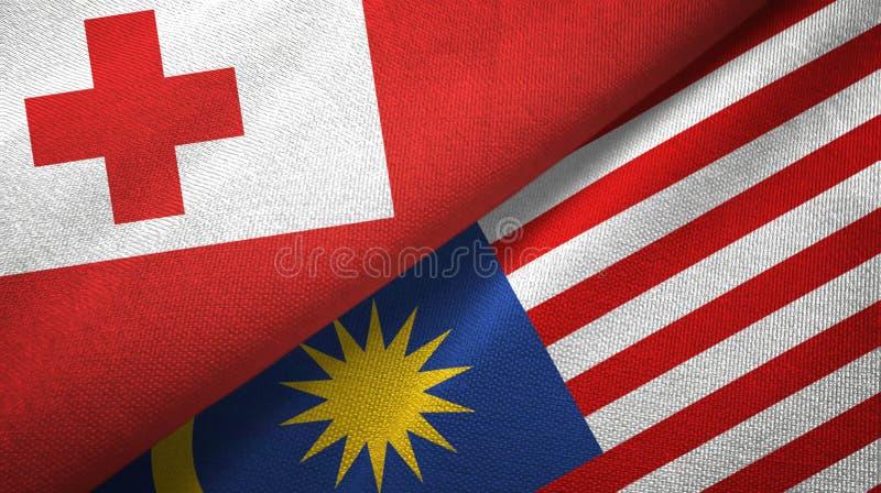 Torkduk för Tonga och Malaysia två flaggatextil, tygtextur stock illustrationer