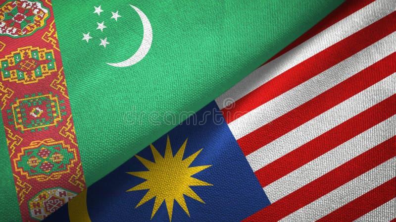 Torkduk för Turkmenistan och Malaysia två flaggatextil, tygtextur vektor illustrationer