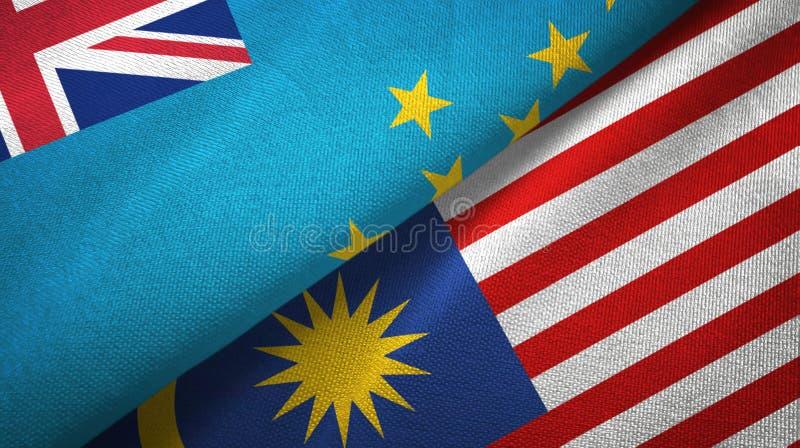 Torkduk för Tuvalu och Malaysia två flaggatextil, tygtextur vektor illustrationer