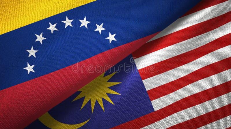 Torkduk för Venezuela och Malaysia två flaggatextil, tygtextur stock illustrationer
