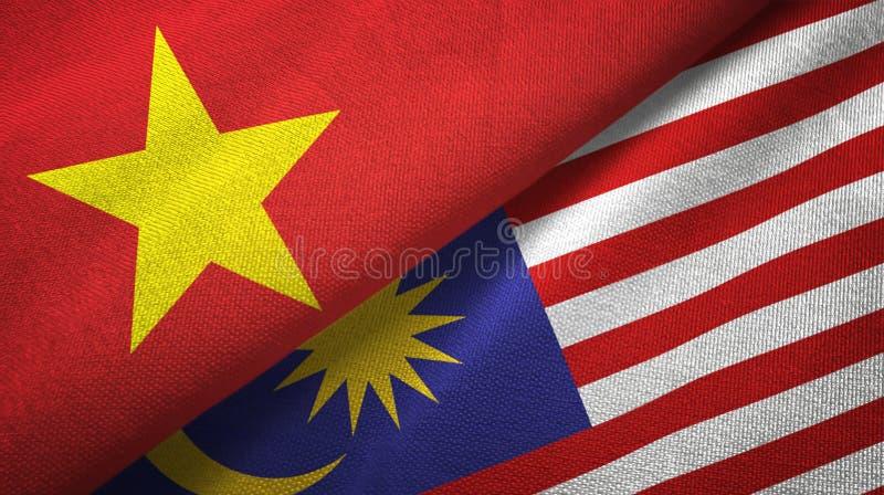 Torkduk för Vietnam och Malaysia två flaggatextil, tygtextur stock illustrationer