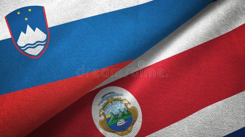 Torkduk f?r Slovenien och Costa Rica tv? flaggatextil, tygtextur royaltyfri illustrationer
