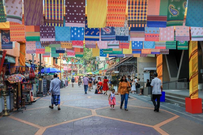 Torkduk indiskt område Singapore royaltyfri bild