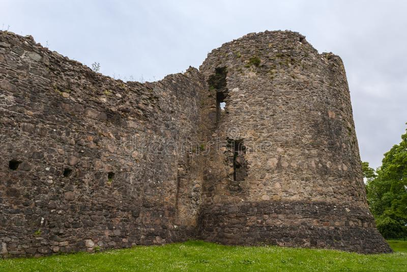 Outside view on rampart corner of Inverlochy Castle, Scotland. stock photography