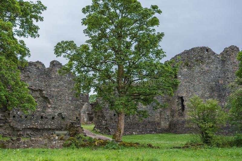 Breach in wall of Inverlochy Castle, Scotland. royalty free stock photography
