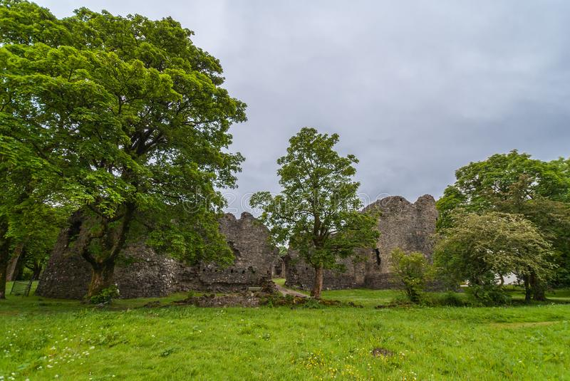 Outside view on ruins of Inverlochy Castle, Scotland. royalty free stock photos