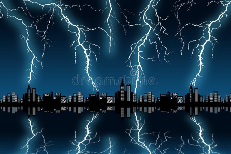Tormenta de la ciudad ilustración del vector