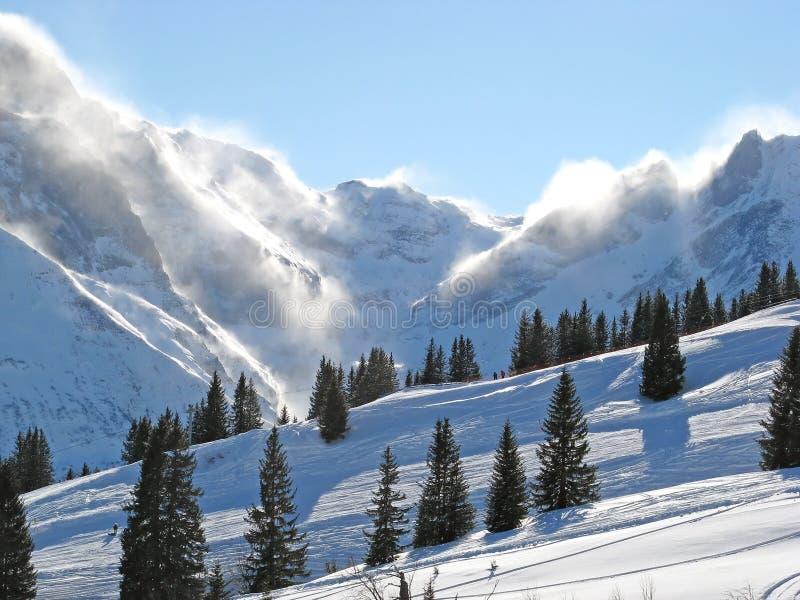 Tormenta de la nieve en las montan@as imágenes de archivo libres de regalías