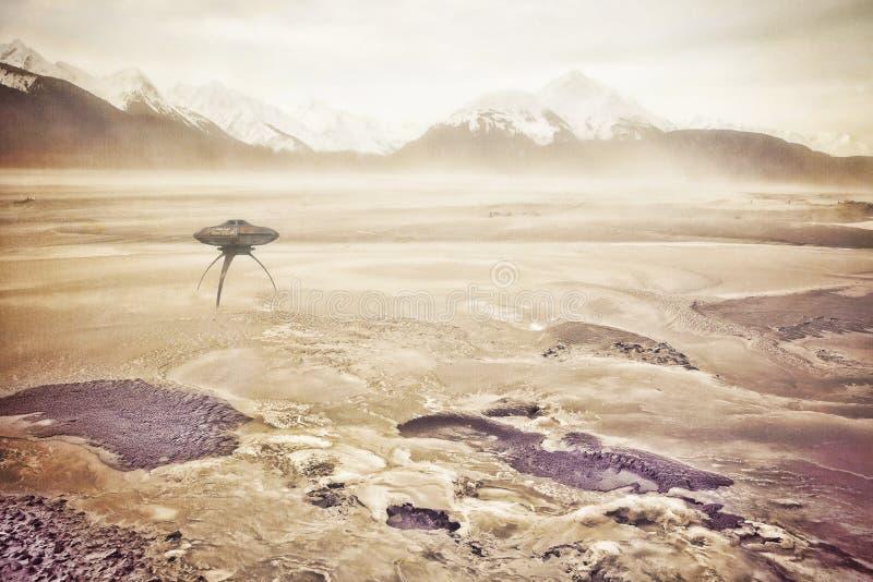 Tormenta del polvo con el UFO fotos de archivo libres de regalías