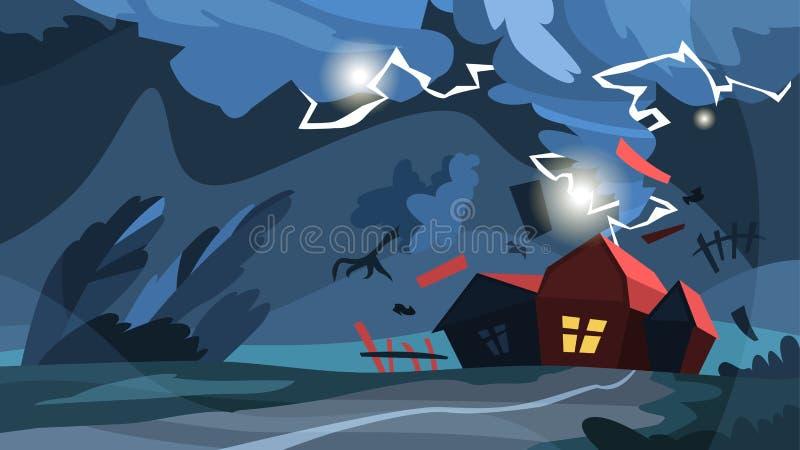 Tormenta del tornado Huracán sobre la casa, natural libre illustration