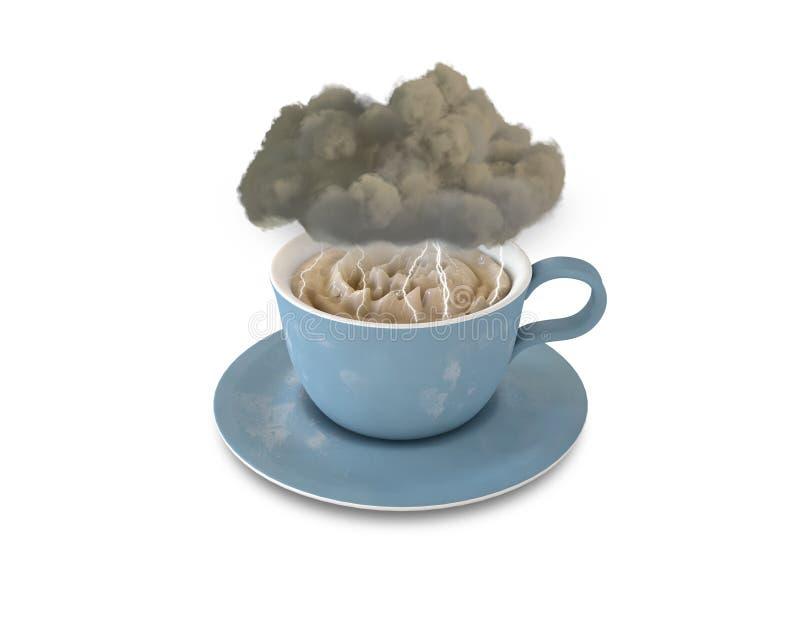 Tormenta en una taza de té stock de ilustración
